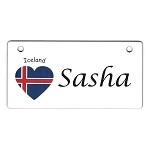 Iceland Heart Flag Crate Tag Personalized With Your Dog's Name